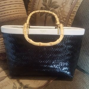 VGC Kate Spade Black Wicker  with bamboo handles